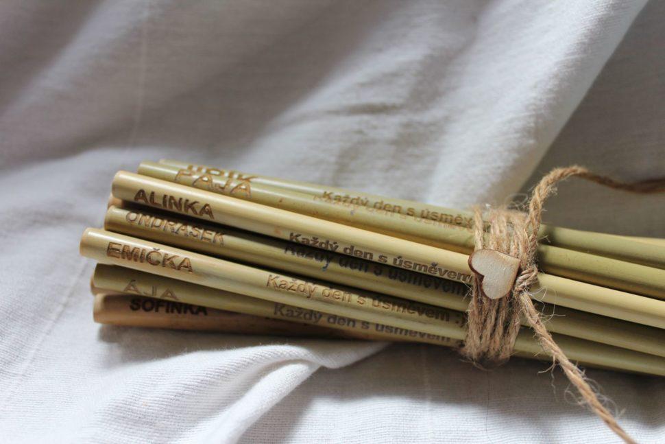 Bambusová brčka - gravírování