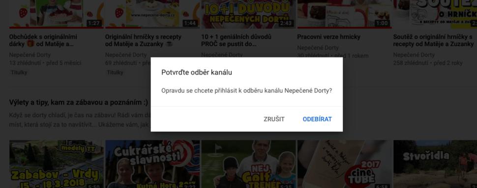 Youtube - potvrďte odběr