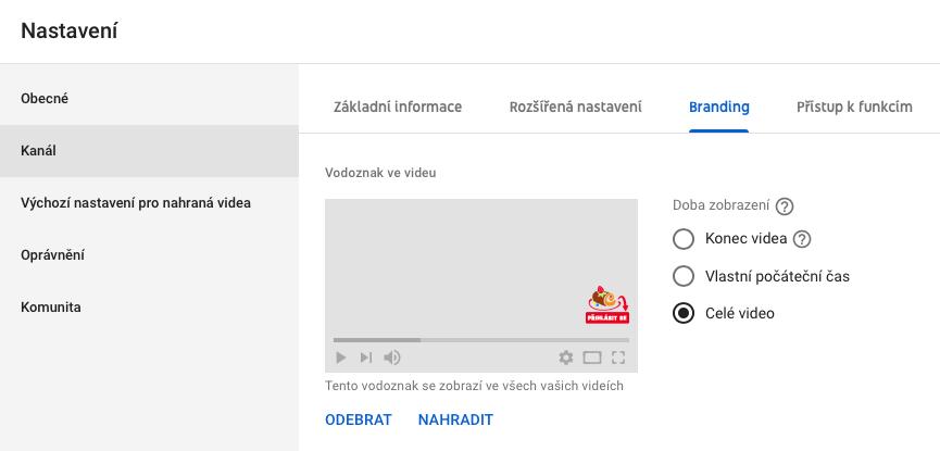 Youtube Studio - nastavení - branding